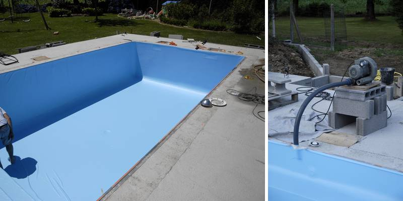 Pose d 39 un liner de piscine comment faire jardipartage for Liner piscine beton